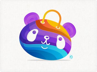 Cute panda character logo design in 2021