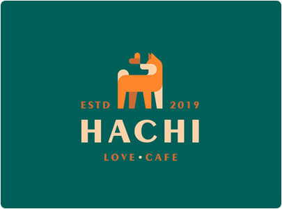 HACHI Cafe Logo design with Geometry shapes trend