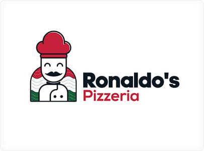 Modern Restaurant logo with minimalist cartoon character